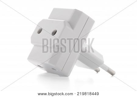 Triple Outlet Tap. Electric energy adapter used to split socket outlet. Isolated on white background.