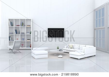 White room decorated with white sofa,tree in glass vase, cream pillows, bookcase, chair, book, television, window, Cream carpet White cement wall it is pattern, white cement floor. 3d rendering.