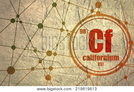 Californium chemical element. Sign with atomic number and atomic weight. Chemical element of periodic table. Molecule And Communication Background. Connected lines with dots.