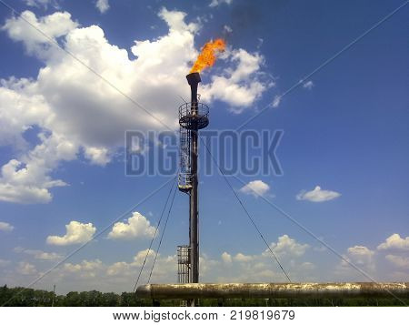 Flare for flaring associated gas. The end point of the pressure relief system on the oil facility