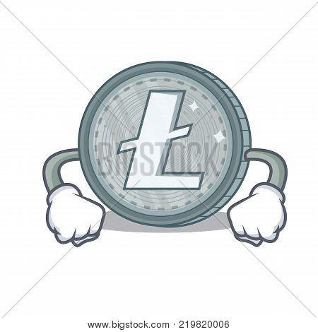 Angry Litecoin character cartoon style vector illustartion
