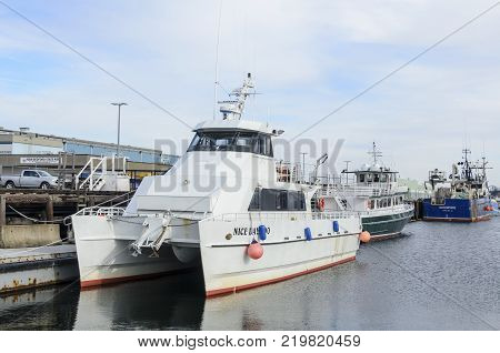New Bedford Massachusetts USA - December 26 2017: Deep sea fishing charter boat Nice Day Too docked in New Bedford harbor