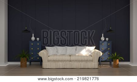 modern living room with armchairs and shelves in front of gray wall white lamp and sideboard 3d rendering Vintage empty wall modern mid Century room interior wooden floor
