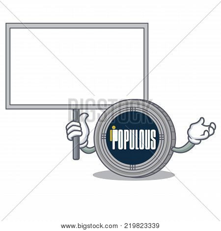 Bring board populous coin character cartoon vector illustration