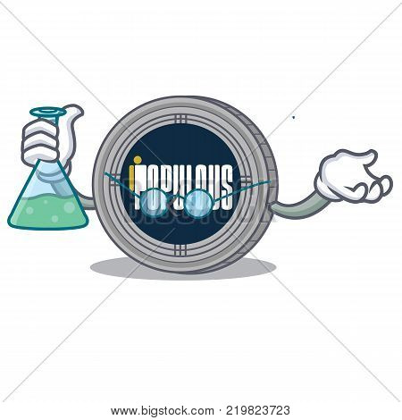 Professor populous coin character cartoon vector illustration poster