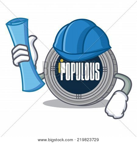Architect populous coin character cartoon vector illustration