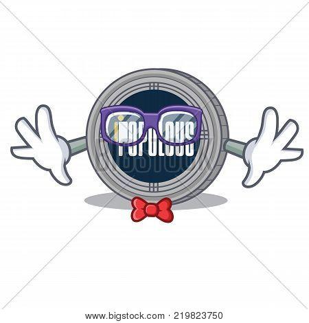 Geek populous coin character cartoon vector illustration
