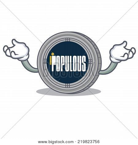 Hand up populous coin character cartoon vector illustration
