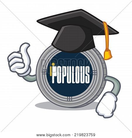 Graduation populous coin character cartoon vector illustration