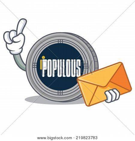With envelope populous coin character cartoon vector illustration