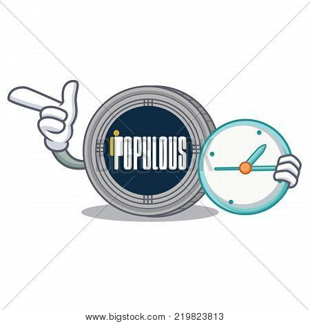 With clock populous coin character cartoon vector illustration