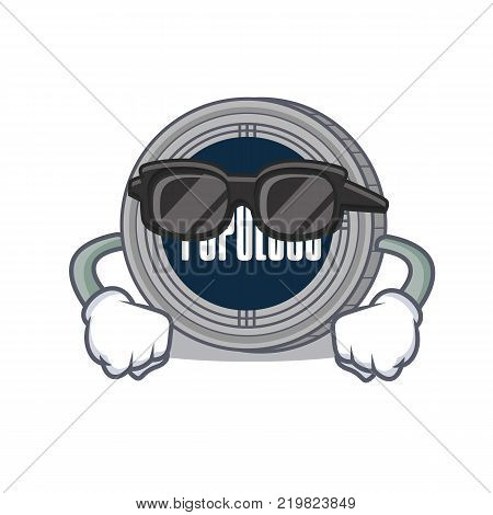 Super cool populous coin character cartoon vector illustration