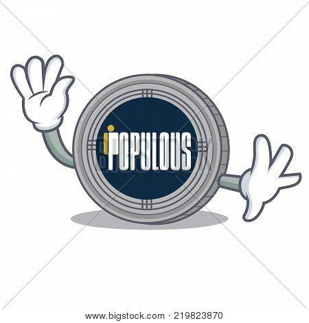 Waving populous coin character cartoon vector illustration