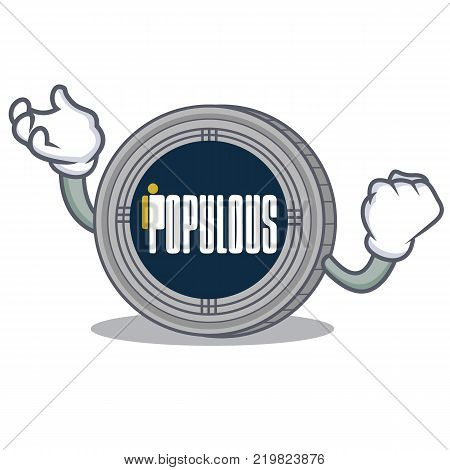 Successful populous coin character cartoon vector illustration