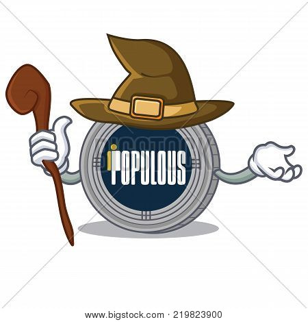 Witch populous coin character cartoon vector illustration