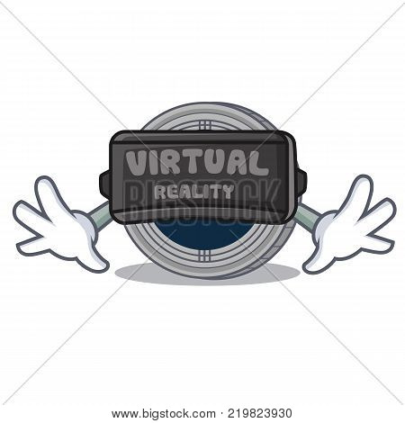 With virtual reality populous coin character cartoon vector illustration