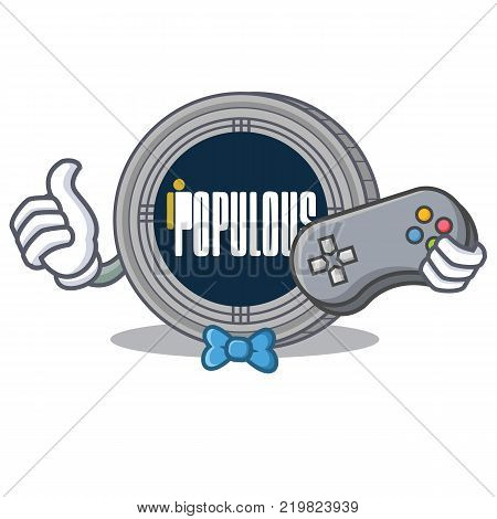 Gamer populous coin character cartoon vector illustration
