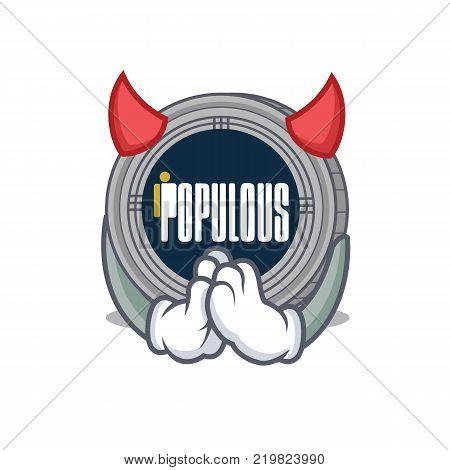 Devil populous coin character cartoon vector illustration