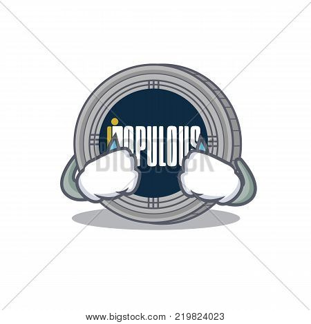 Crying populous coin character cartoon vector illustration