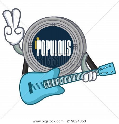 With guitar populous coin character cartoon vector illustration