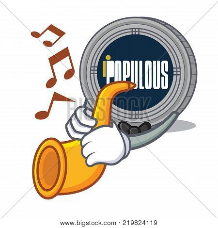 With trumpet populous coin character cartoon vector illustration