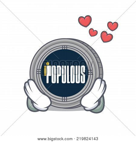 In love populous coin character cartoon vector illustration