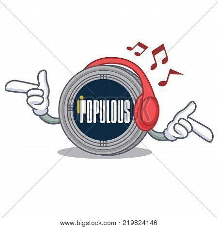 Listening music populous coin character cartoon vector illustration