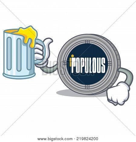 With juice populous coin character cartoon vector illustration