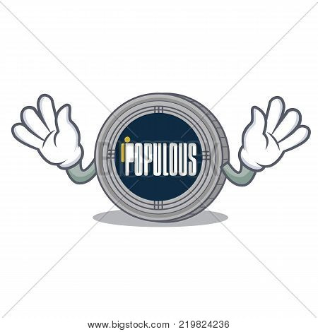Mocking populous coin character cartoon vector illustration