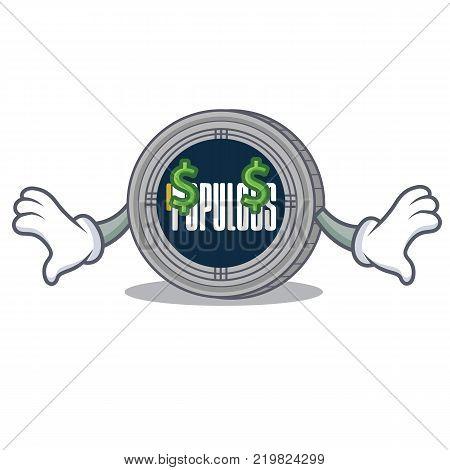 Money eye populous coin character cartoon vector illustration