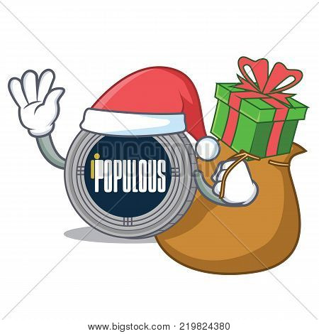 Santa with gift populous coin character cartoon vector illustration