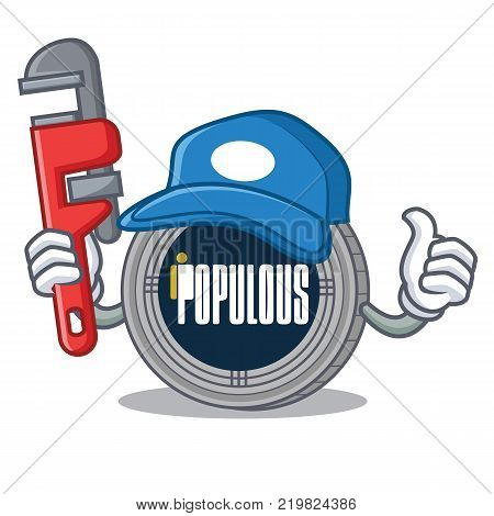 Plumber populous coin character cartoon vector illustration