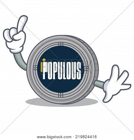Finger populous coin character cartoon vector illustration