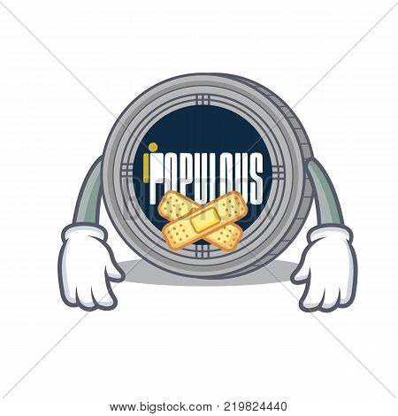 Silent populous coin character cartoon vector illustration