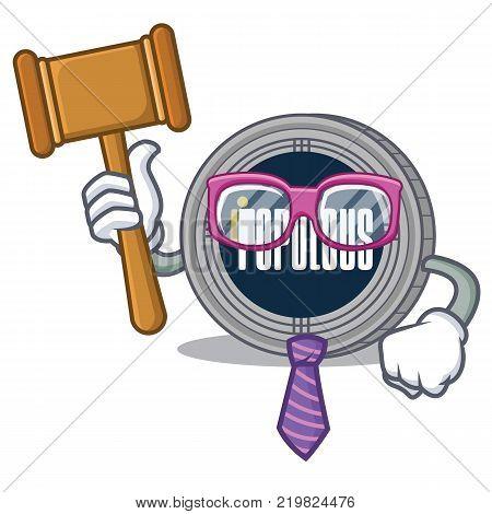 Judge populous coin character cartoon vector illustration