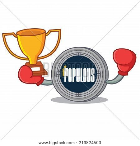 Boxing winner populous coin character cartoon vector illustration