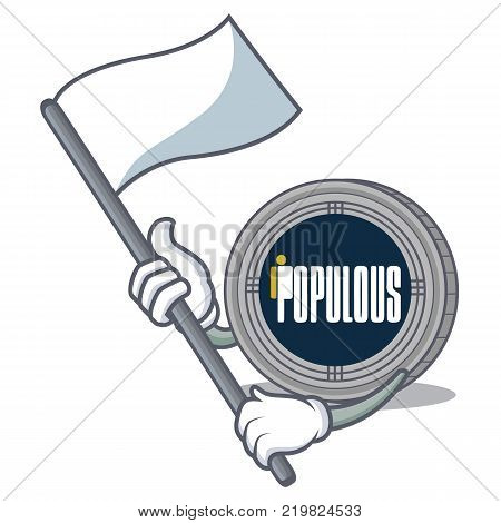 With flag populous coin character cartoon vector illustration