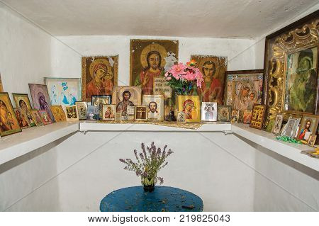 Novoselka Village Ivanovo Region Russia - 08/09/2014: In the Chapel of the Holy Source of the Kazan Icon of the Mother of God August 9 2014 near the village of Novosyolka Ivanovo Region Russia.