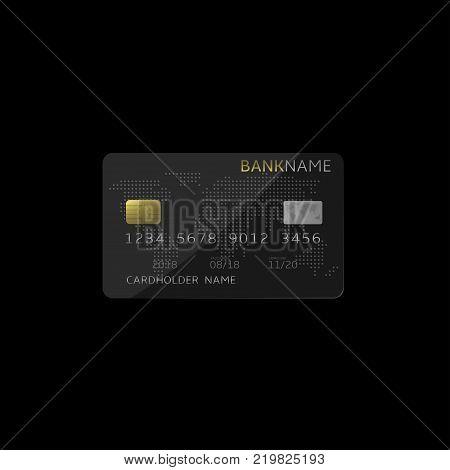 Black Debit Credit Bank plastic card. Vector illustration
