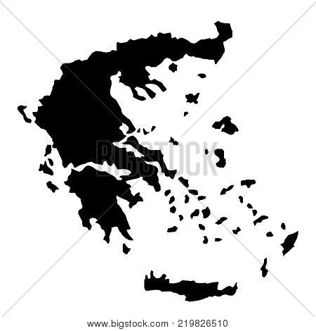 black silhouette country borders map of Greece on white background of vector illustration
