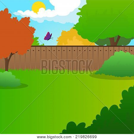 Cartoon backyard landscape with green meadow, bushes, trees, wooden fence, blue sky and flying butterfly. Summer nature background. Sunny day concept. Colorful vector illustration in flat style.