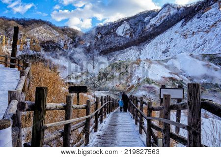 Traveler Walking Into Jigokudani, Known In English As