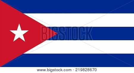 Flag of Cuba in national colors with a red triangle and a white star vector