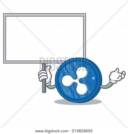 Bring board Ripple coin character cartoon vector illustration