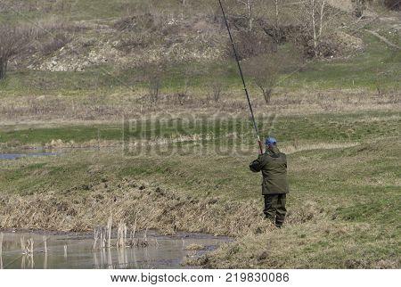 fishing rod lake fisherman men sport summer lure water fish