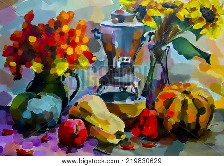 Still life. A painting depicting a still life, a vase, dishes, a bouquet and fruit