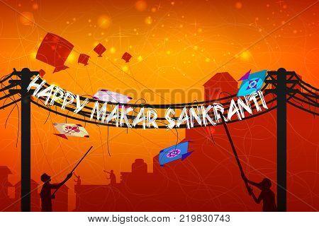 Happy Makar Sankranti religious festival of India celebration background. Vector illustration