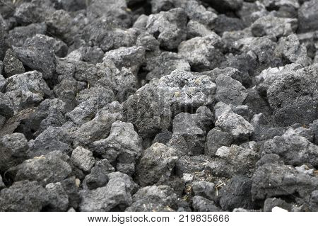 dark texture of burnt coal slag stones