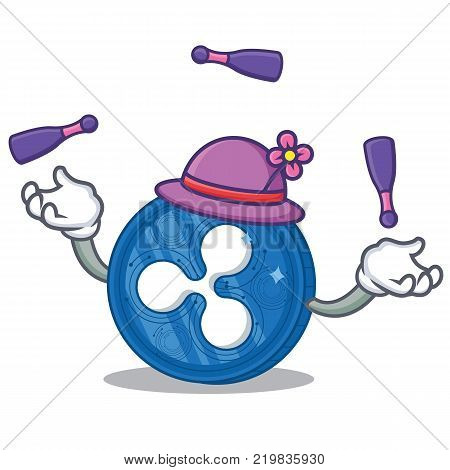 Juggling Ripple coin character cartoon vector illustration