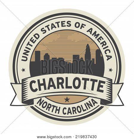 Stamp or label with name of Charlotte North Carolina vector illustration